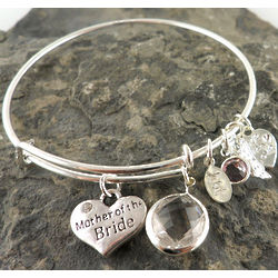 Personalized Mother of the Bride Wire Bangle Bracelet