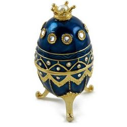 Royal Blue Musical Faberge Egg with Gold Crown
