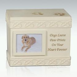 Dogs Leave Paw Prints Box Style Cremation Urn with Photo Slot