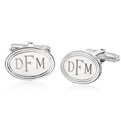 Personalized Oval Sterling Silver Cuff Links