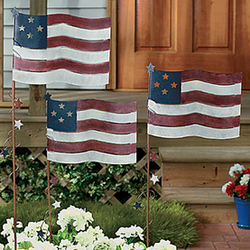 Rustic Metal Painted Flag Yard Stakes