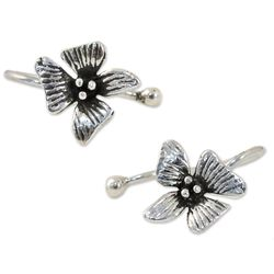 Petite Orchid Sterling Silver Ear Cuffs