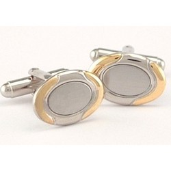 Personalized Oval Two Tone Cuff Link Set