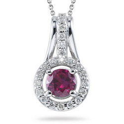Diamond & Ruby Pendant in 14K White Gold