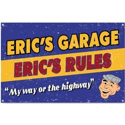 Personalized My Way or Highway Garage Sign