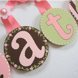 Hand Painted Round Wall Letters in Pink, Brown & Green