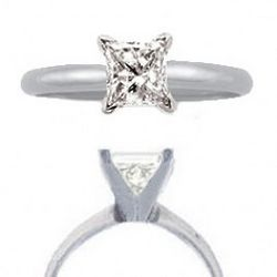 0.50 Ct Princess Cut Solitaire Engagement Ring