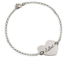 Sterling Silver Engraved Heart Couple's Bracelet