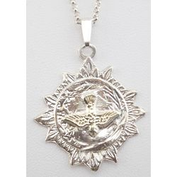 Large Sunburst Medal with Gold Dove on Chain