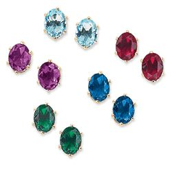 Color Crystal Stud Pierced Earring Set