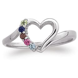 Sterling Silver Petite Heart Mother's Ring