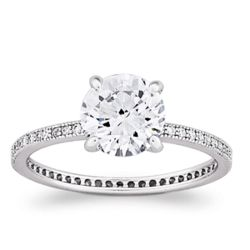 Sterling Silver MicroPave Large Solitaire Cubic Zirconia Ring
