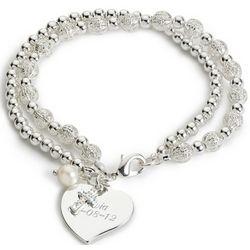 Trinity Bracelet with Engravable Heart Charm