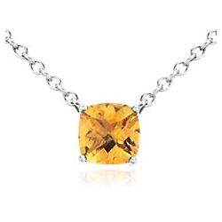 Cushion Cut Citrine Pendant in Sterling Silver