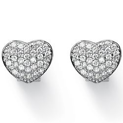 Silver Tone Cubic Zirconia Pave Heart Earrings