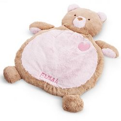 Pink Bear Baby Belly Mat Blanket