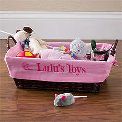 Pet Toy Basket with Personalized Pink Liner