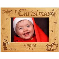 Wooden Personalized First Christmas Frame