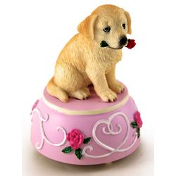 Golden Retriever with Rose Musical Figurine