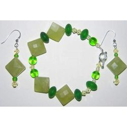 Green Bead Bracelet and Earrings