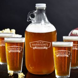 Classic Brewery Growler and Beer Glasses Set
