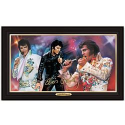 Elvis Light of a Legend Illuminating Framed Canvas Print