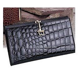 Crocodile Slim Clutch Wallet