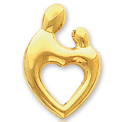14k Yellow Gold Heart Mother and Child Charm Pendant