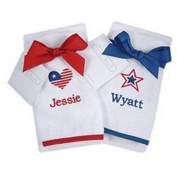 Personalized Patriotic Bib & Burp Cloth Set