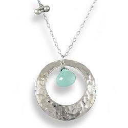 Hammered Silver Hoop Necklace with Island Blue Chalcedony Stone