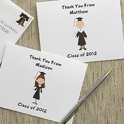 Graduation Character Custom Note Cards