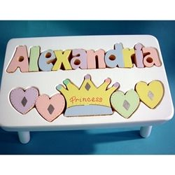 Personalized White Princess Name Puzzle Step Stool