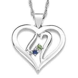 Sterling Silver Two Sisters Birthstone Heart Necklace