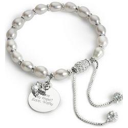 Engravable Pavé Angel Charm Pearl Bracelet