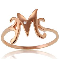 14K Rose Gold Layered Cubic Zirconia Initial Ring
