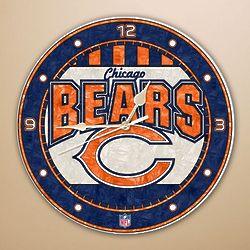 Chicago Bears Art Glass Clock