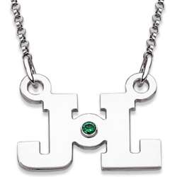 Sterling Silver Block Initials and Birthstone Necklace