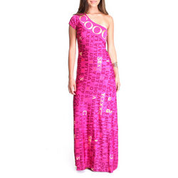 Women's Pink One Shoulder Maxi Dress