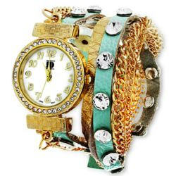 Mint Wrap Around Watch with Gold Chain