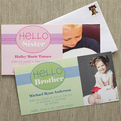 Custom Photo Hello Brother, Hello Sister Baby Birth Announcements