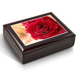 Blooming Red Rose Tile Musical Jewelry Box