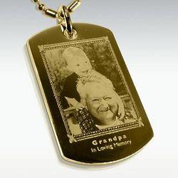 Photo Engraved Gold Rectangle Memory Pendant