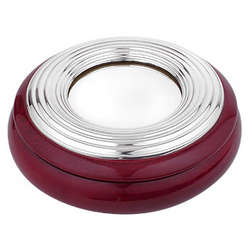 Ridged Sterling Silver & Mahogany Wood Round Jewelry Box