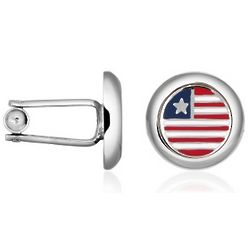Stars & Stripes US Flag Silver Plated Round Cufflinks