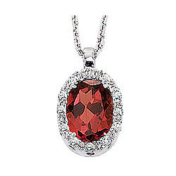 50's Style 14K Diamond and Garnet Oval Drop Pendant Necklace