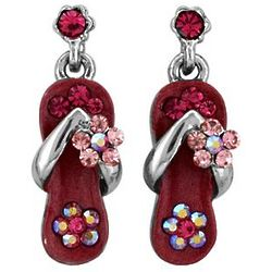 Watermelon Pink Crystal Flower Strap Earrings