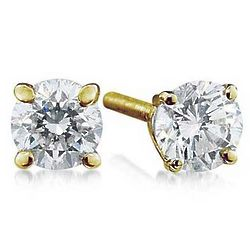 3/4ct Round Diamond Solitaire Earrings in 14k Yellow Gold