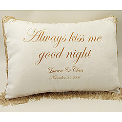 "Personalized ""Always Kiss Me Goodnight"" Pillow"