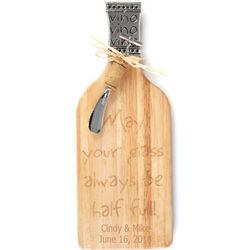 Champagne Bottle Cutting Board & Corkscrew Spreader Set