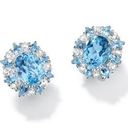 Blue and White Topaz Silver Earrings